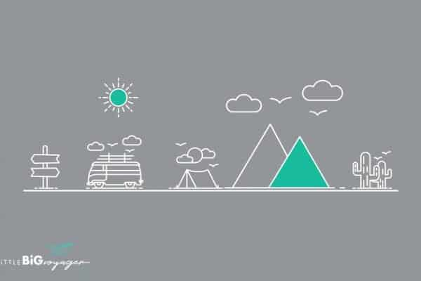 You see a drawing with tents, mountains, camping car