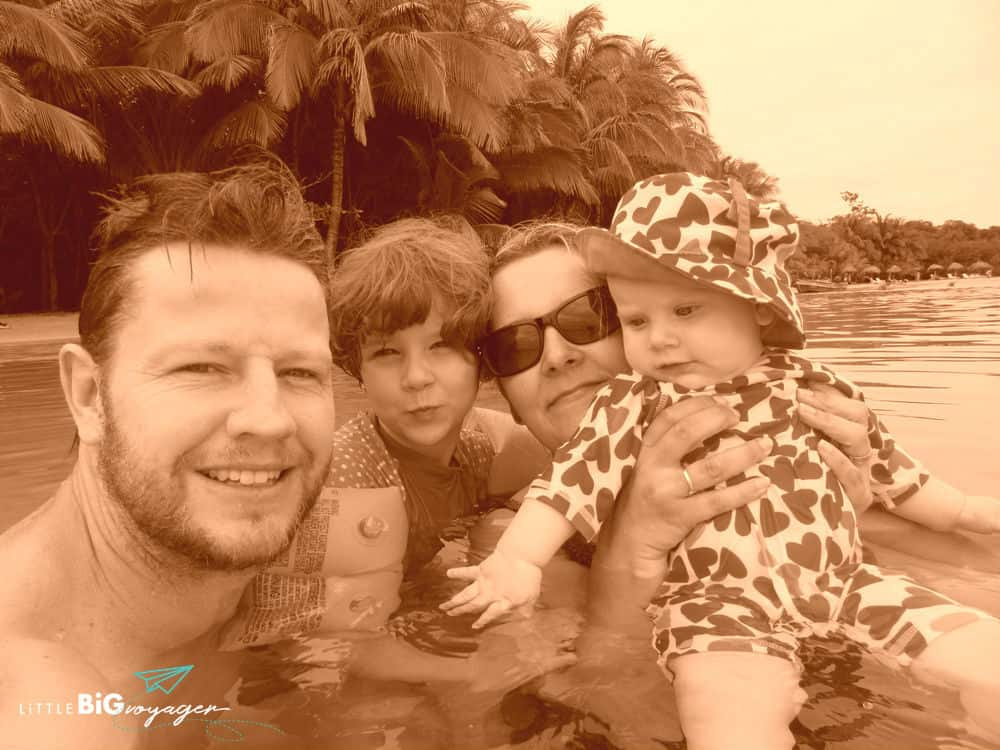 my family and I bathing at the sea in Panama