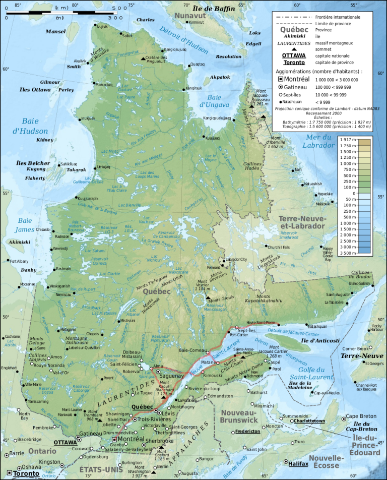 map quebec - route