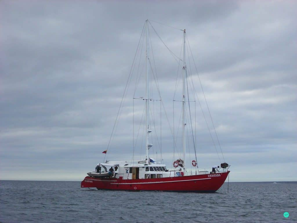 Sailing boat at Galapagos Islands