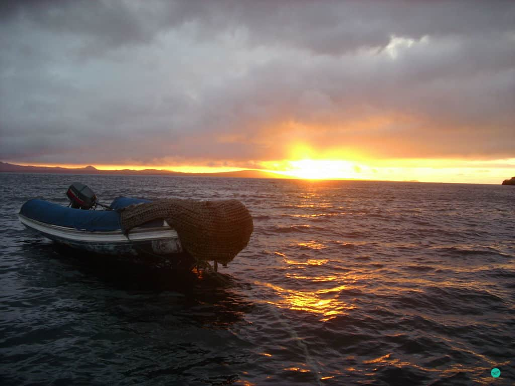 sundown at the pacific ocean at Galapagos
