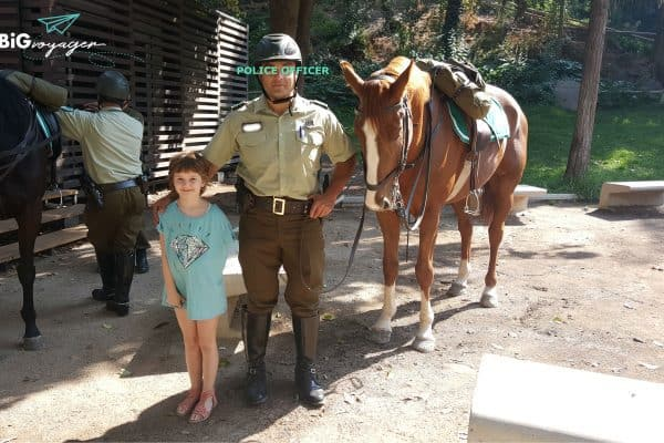 big J and a local police officer of the cavalry at parque metropolitano