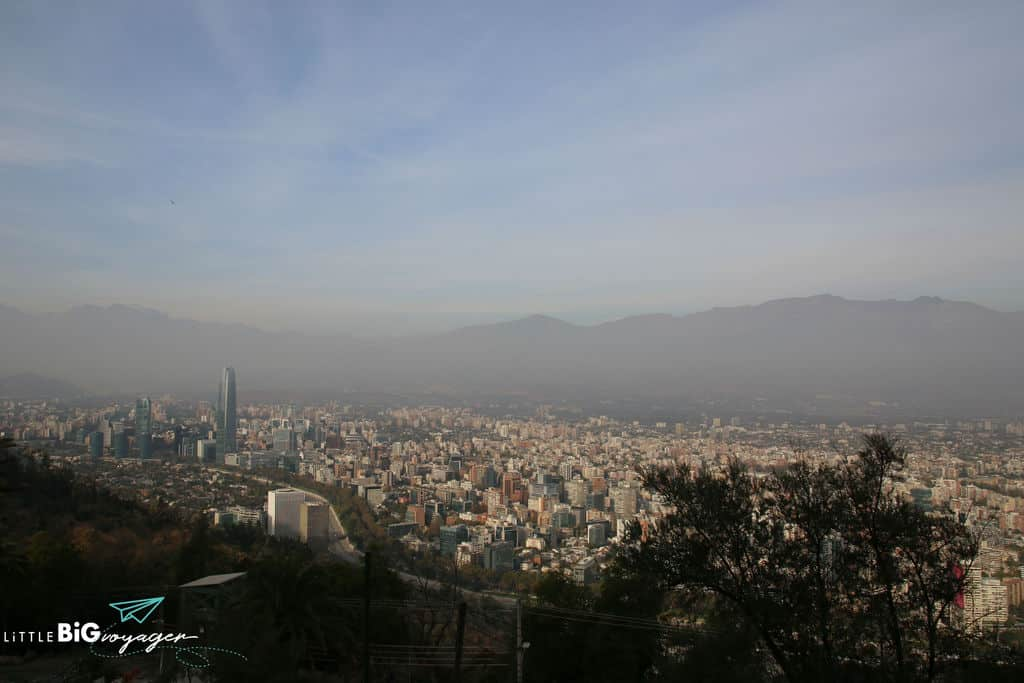 bird's eye view of Santiago while sitting in a cable car