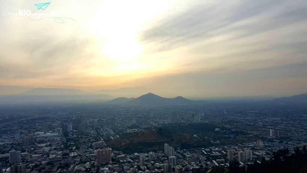 city of Santiago at sunset at cerro San Cristobal