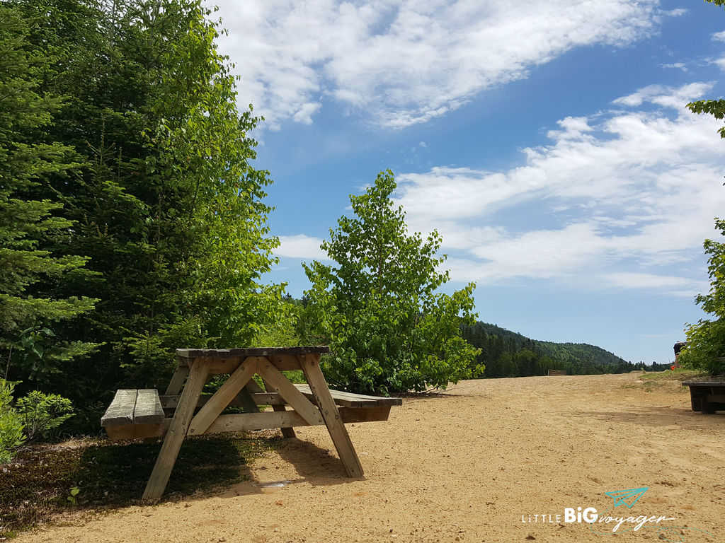 Bench at the main beach of Lac Provost