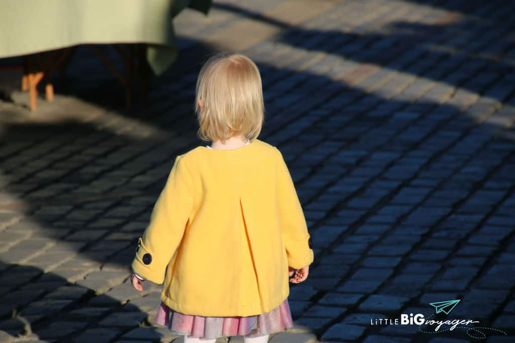Little J with a yellow coat