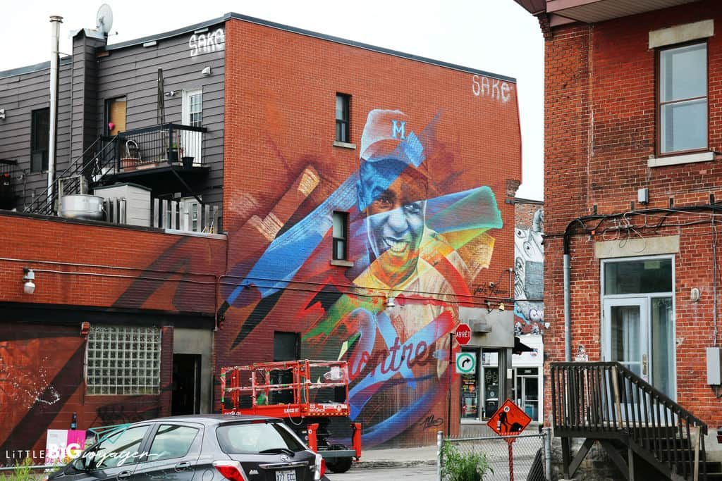sports man mural Montreal